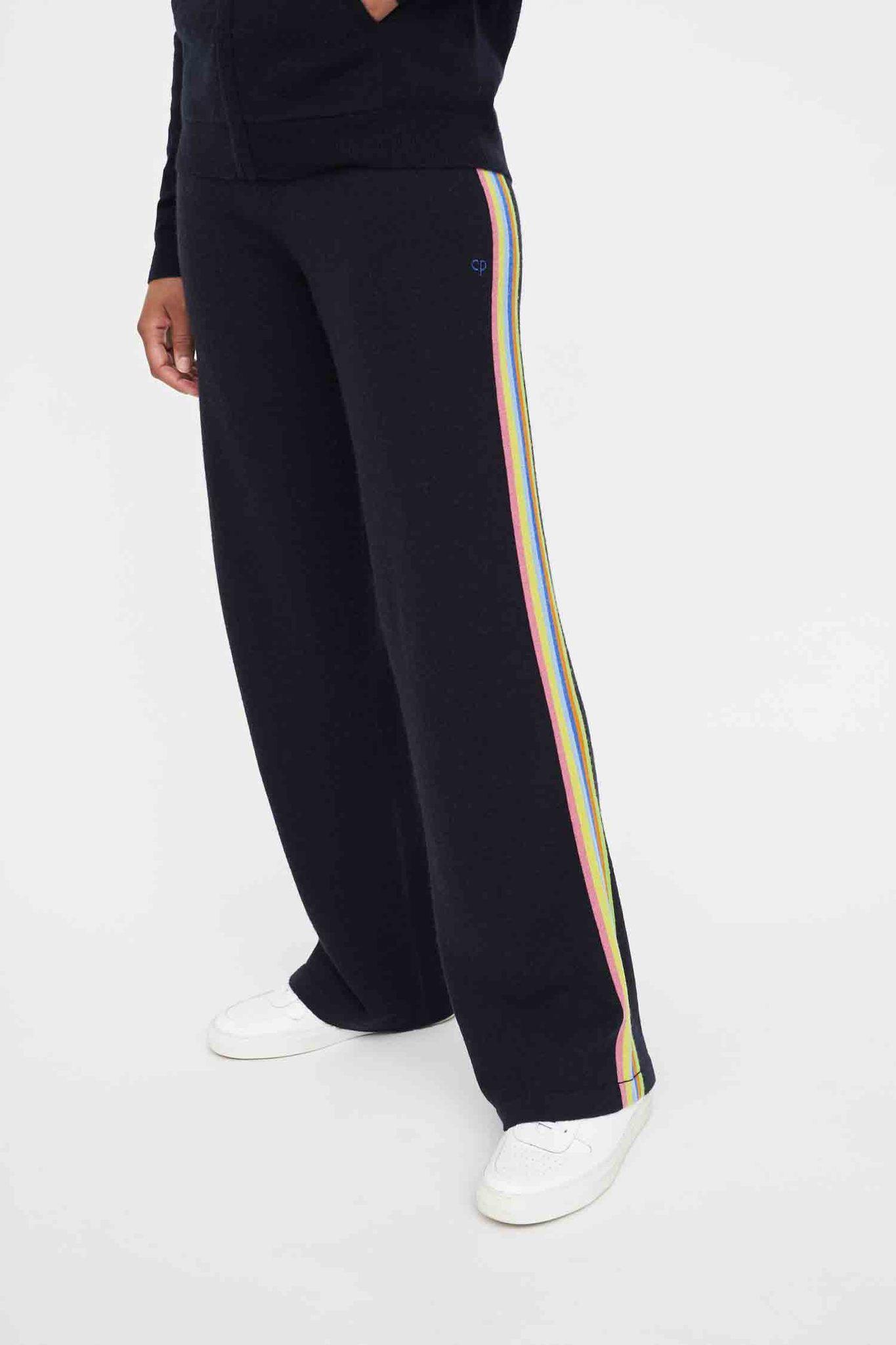 Navy Contrast Stripe Wool-Cashmere Wide-Leg Pants