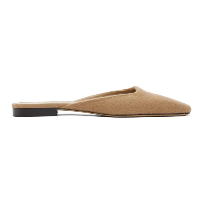 Toteme SSENSE 独家发售黄褐色羊绒拖鞋