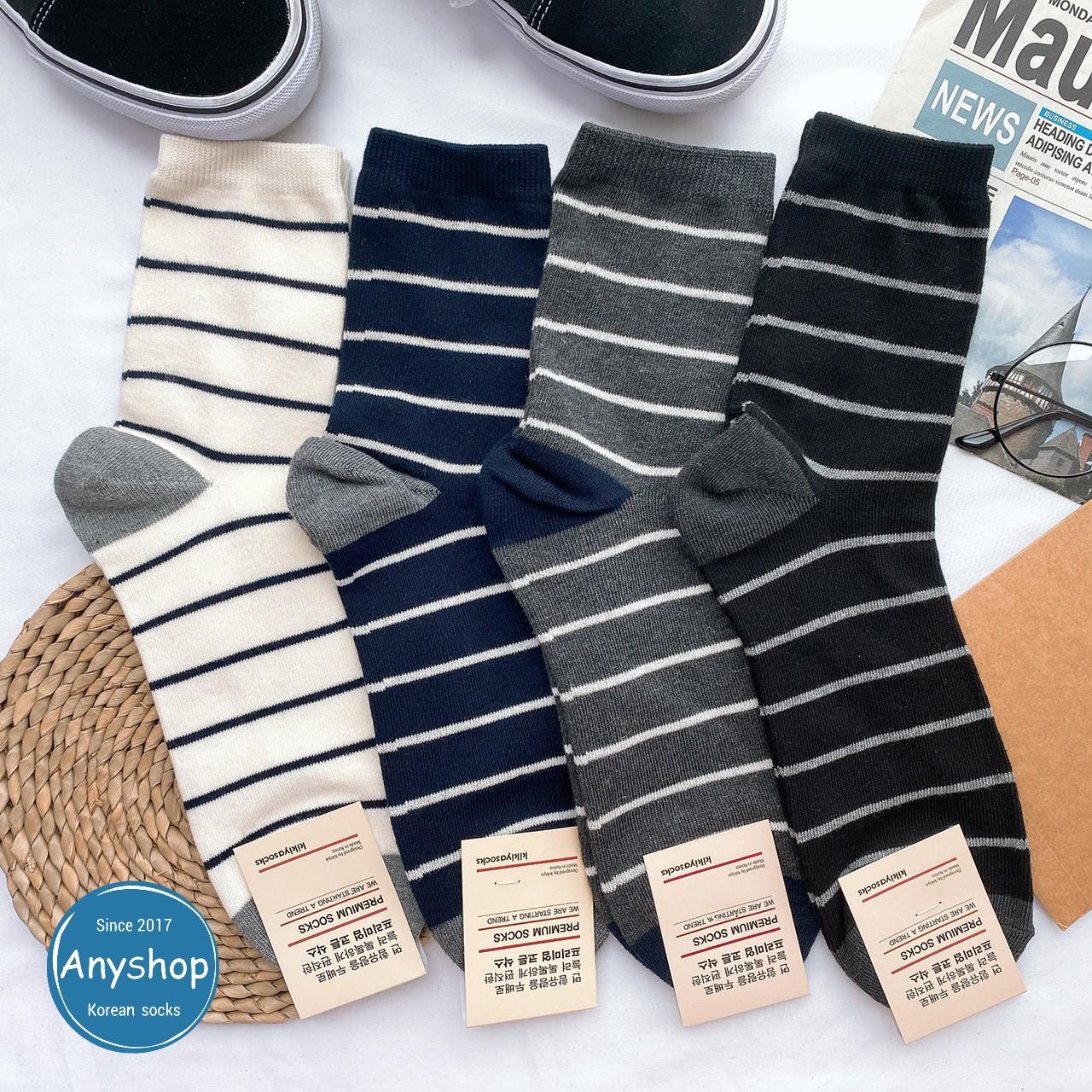 韓國襪-[Anyshop]簡單日系男士條紋襪