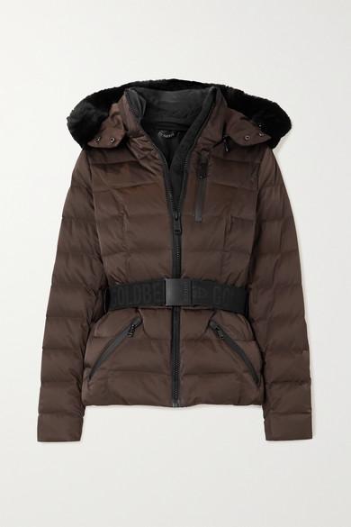 Goldbergh - Soldis 配腰带人造皮草边饰绗缝羽绒连帽滑雪夹克 - 棕色 - UK14