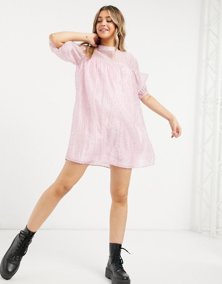 Vila high neck smock mini dress in pink