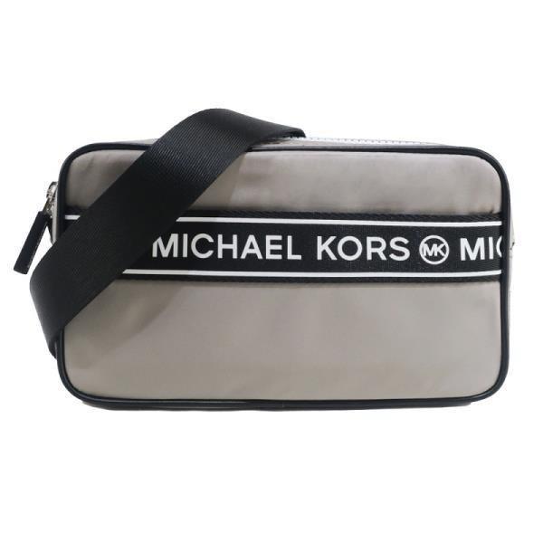 MICHAEL KORS KENLY 尼龍橫槓雙拉鍊相機斜背包-灰