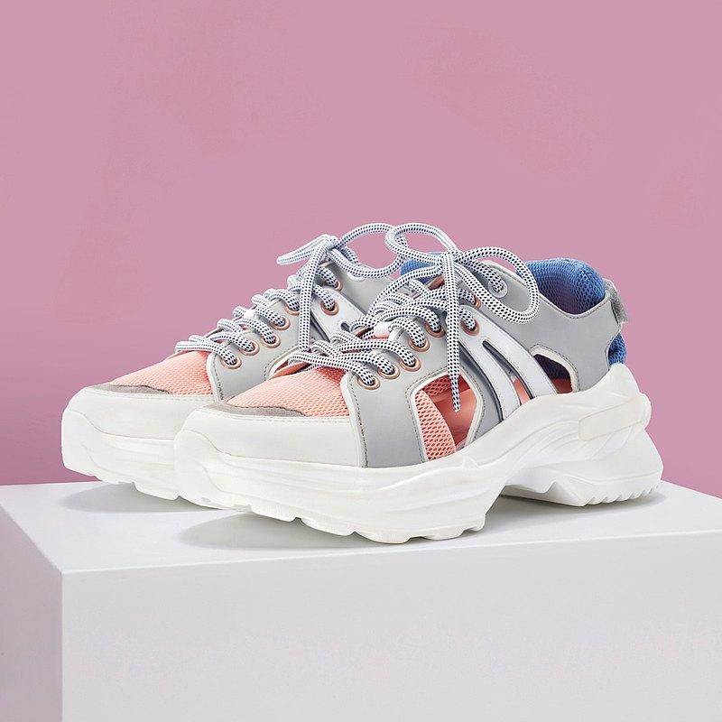  HOA   多重物料拼接休閒鞋   粉紅色   5327  
