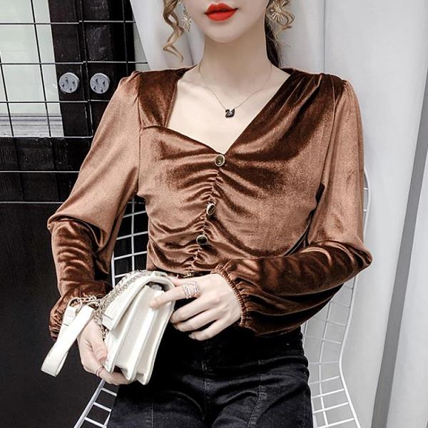 現貨寄出 chic港味上衣女短款秋裝復古港風不對稱方領設計感小眾金絲絨襯衫