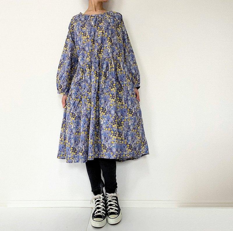 兔子和野花圖案寬鬆插肩連衣裙長裙棉