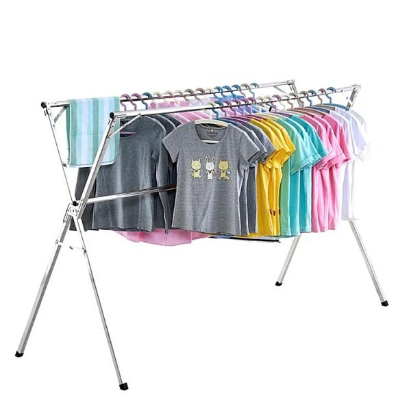 摺疊曬衣架落地臥室內家用陽台簡易涼衣架曬架涼晾衣桿不銹鋼伸縮 ATF 全館免運