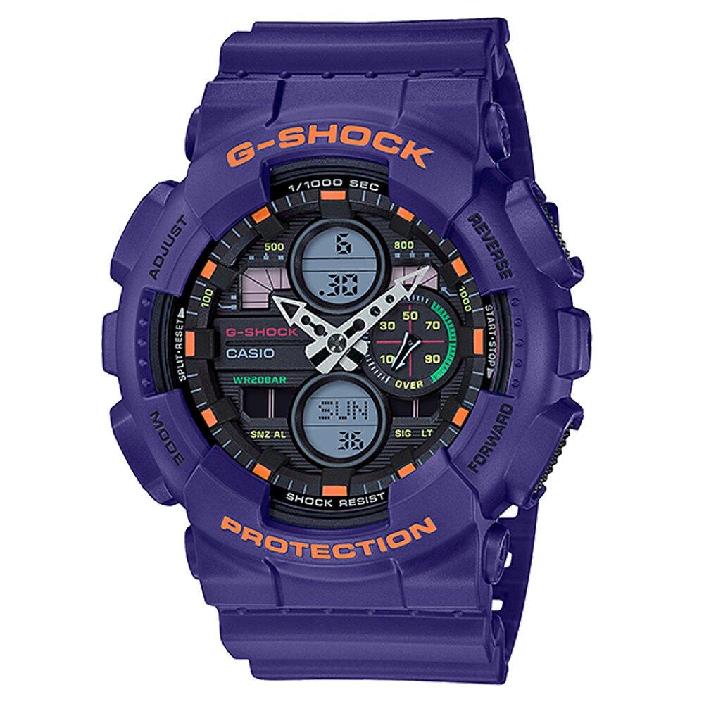 【CASIO卡西歐】G-SHOCK 現代百搭復古攜帶式音響概念雙顯錶-紫(GA-140-6A)