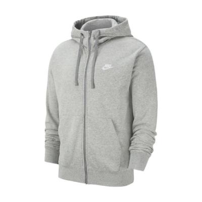 Nike 外套 Club Full-Zip Hoodie 男款 NSW 連帽 棉質 穿搭 秋冬款 灰 白 BV2649063