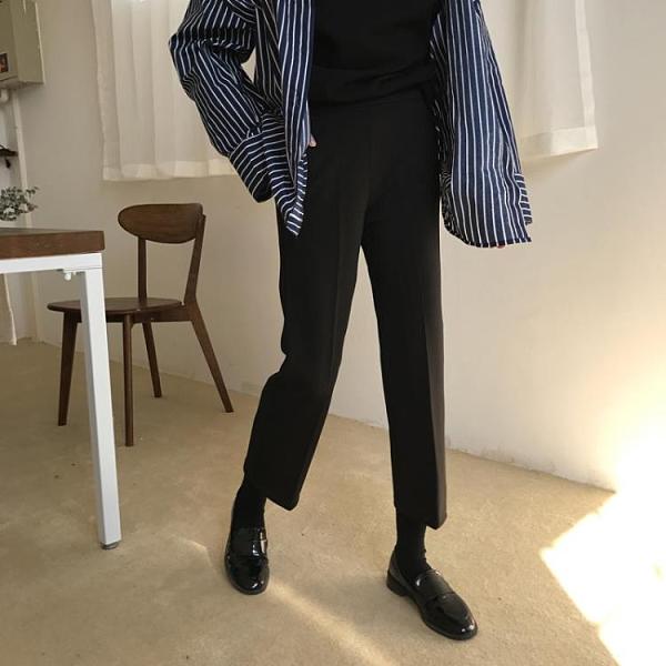 西裝褲 春秋正韓休閒高腰九分褲寬鬆西裝褲直筒褲子女學生-Milano米蘭