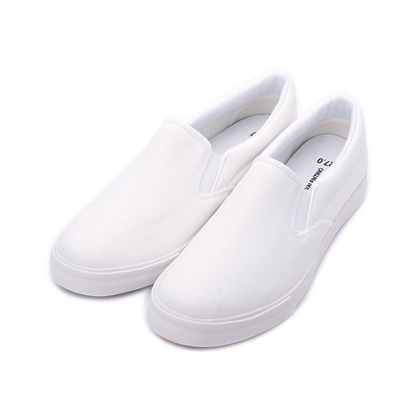 GIOVANNI VALENTINO 素色仿皮套式休閒鞋 白 GV8523 男鞋
