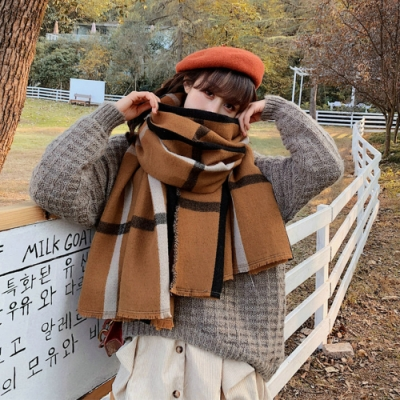 【KISSDIAMOND】百年經典咖啡大格紋雙面羊絨保暖長圍巾披肩(保暖/舒適/百搭/KDM-FYR172)
