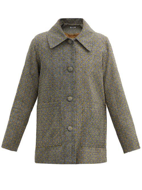 Batsheva - Single-breasted Flocked Wool-tweed Jacket - Womens - Grey