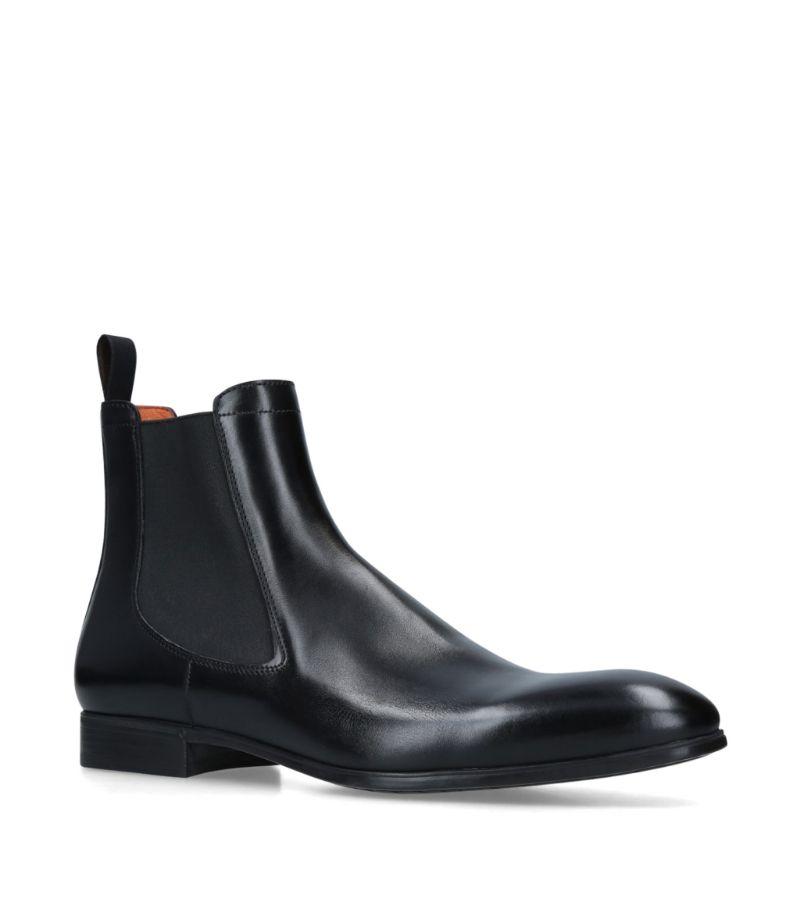 Santoni Leather Chelsea Boots
