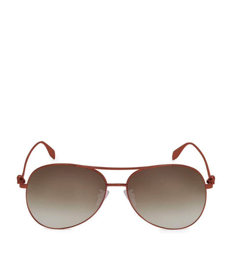 Alexander Mcqueen Metallic Aviator Sunglasses