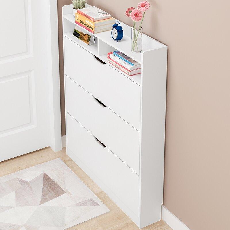 翻斗鞋櫃 簡易多層17-24cm超薄實木色窄鞋架 雙十一