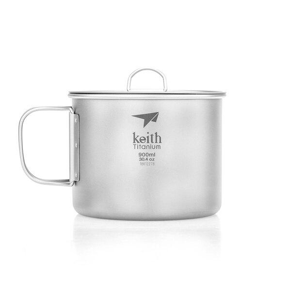 鎧斯Keith Ti3209 單層_摺疊鈦杯(附鈦杯蓋)  900ml