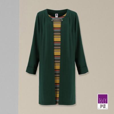 ILEY伊蕾 條紋假兩件長版洋裝(綠)