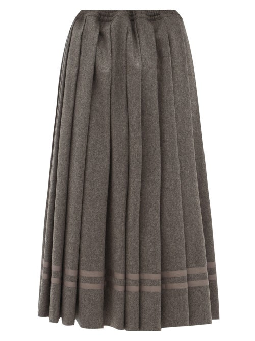 Zanini - Pleated Wool-flannel Midi Skirt - Womens - Grey