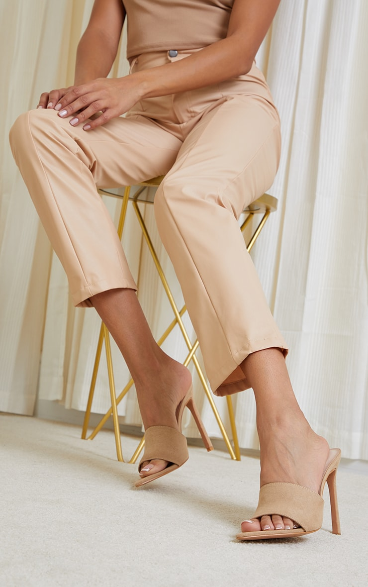 Sand Faux Suede Strap Point Toe High Heels