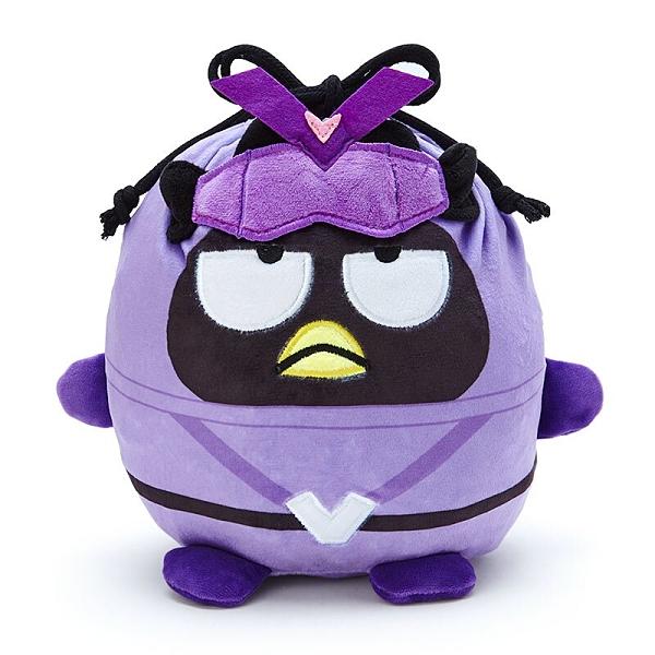 小禮堂 酷企鵝 造型絨毛束口袋 旅行收納袋 小物袋 縮口袋 (紫 英雄戰隊) 4550337-06331