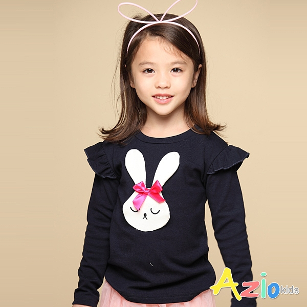 Azio 女童 上衣 蝴蝶結兔子貼布長袖上衣T恤(藍) Azio Kids 美國派 童裝