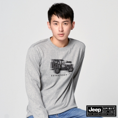 Jeep 男裝 休閒復古拓印長袖T恤-灰色