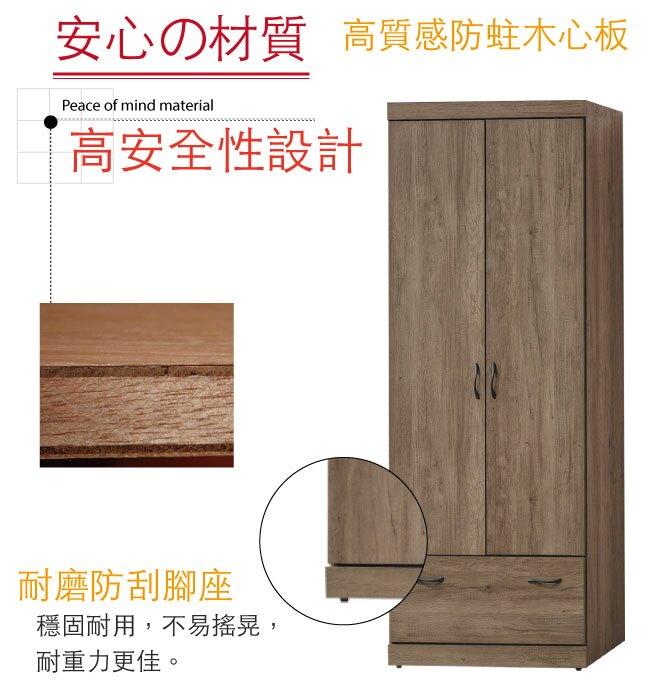 【綠家居】萊西亞 時尚2.5尺二門單抽衣櫃/收納櫃(含側拉鏡面)