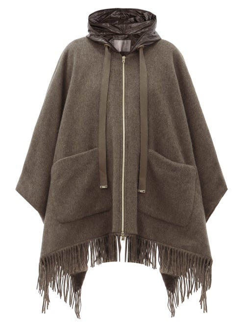 Herno - Hooded Quilted Shell-lined Wool Cape - Womens - Mid Brown