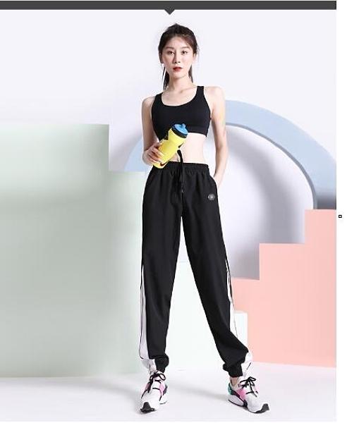 健身褲 新款拼色夏季運動褲女寬鬆束腳薄款速干跑步健身休閒長褲
