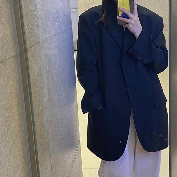 西裝外套 黑色西裝外套女2020秋vintage休閑寬鬆廓形西服【全館免運】