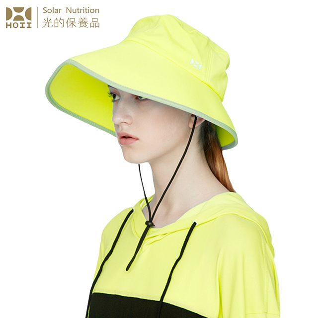 【后益 HOII】2WAY造型標語圓筒帽★黃光-UPF50+抗UV防曬涼感先進光學機能布