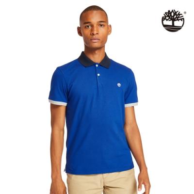 Timberland 男款衝浪藍領部印花短袖修身POLO衫 A2B5C