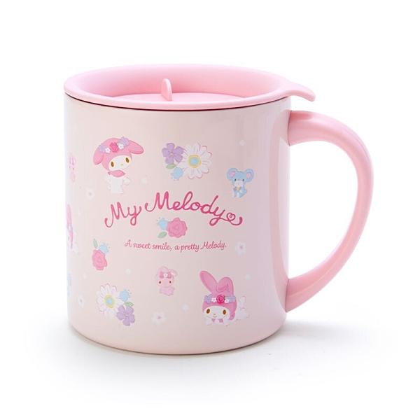 小禮堂 美樂蒂 單耳不鏽鋼杯 附蓋 保溫馬克杯 咖啡杯 300ml (粉 滿版) 4550337-92944