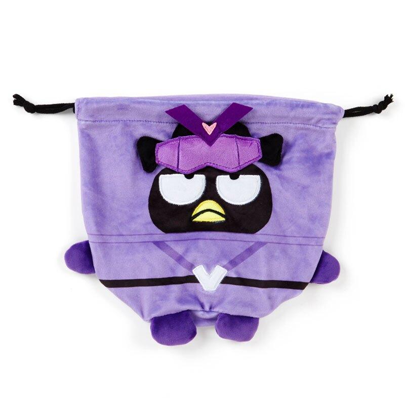 小禮堂 酷企鵝 造型絨毛束口袋 旅行收納袋 小物袋 縮口袋 (紫 英雄戰隊)
