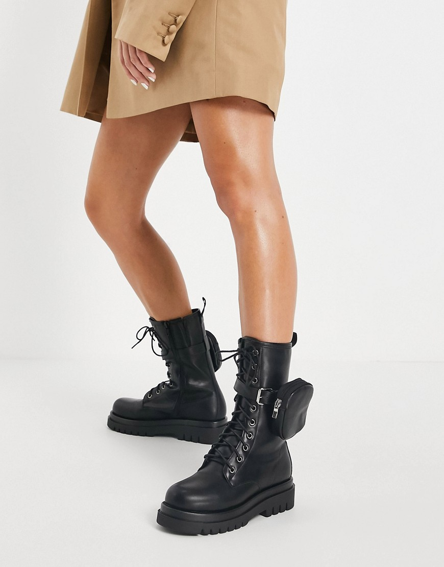 Truffle Collection mid height chunky lace up boots in black with detachable pouch