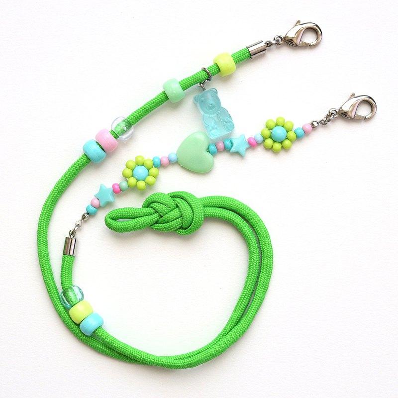 綠色口罩錶帶-口罩掛繩錶帶-檸檬綠果凍熊傘繩錶帶