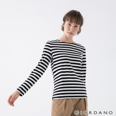 GIORDANO 女裝純棉條紋T恤 - 83 黑白條紋