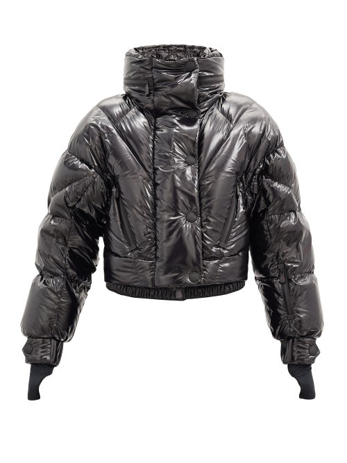 3 Moncler Grenoble - Hooded Quilted Down Cropped Jacket - Womens - Black