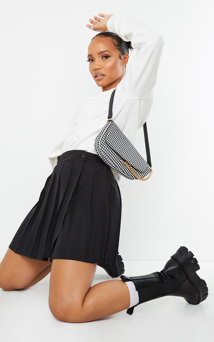 Black Woven Skater Skirt