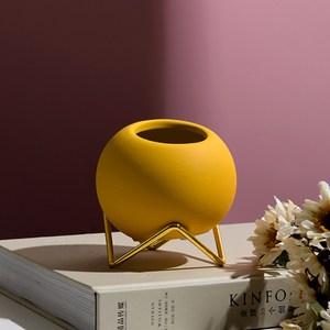 北歐ins風金屬陶瓷花器-秋葉黃