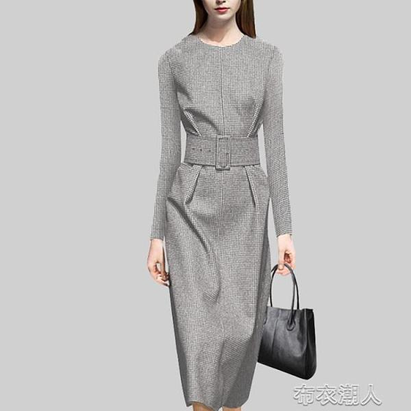 2020年秋季新款洋裝歐美時尚長袖中長款修身氣質職業 YJT【快速出貨】
