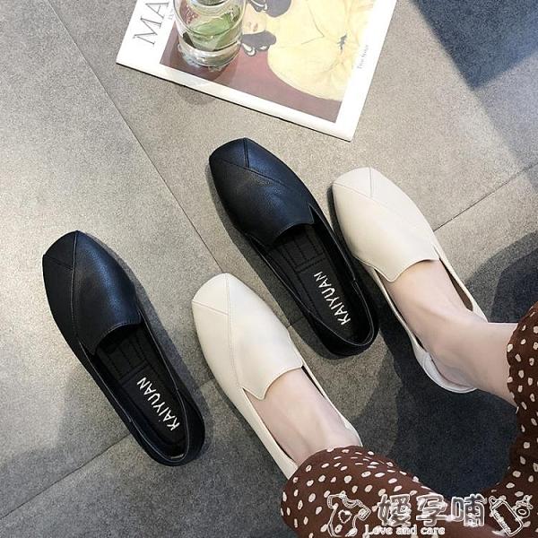 豆豆鞋小香風單鞋子女2021新款春季網紅平底豆豆鞋晚晚風溫柔軟底奶奶鞋嬡孕哺 618購物
