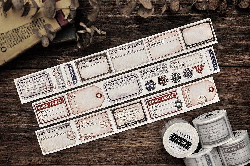 復古標籤2紙膠帶-生活篇/手寫/拼貼/手帳/4cm-帶離型紙