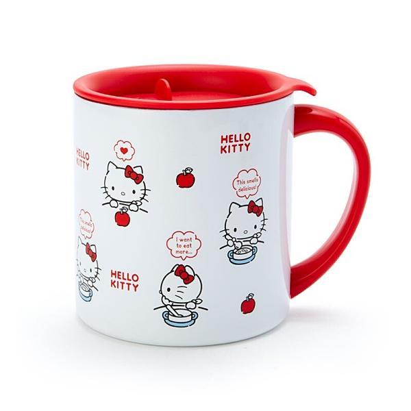 小禮堂 Hello Kitty 單耳不鏽鋼杯 附蓋 保溫馬克杯 咖啡杯 300ml (紅白 滿版) 4550337-92926