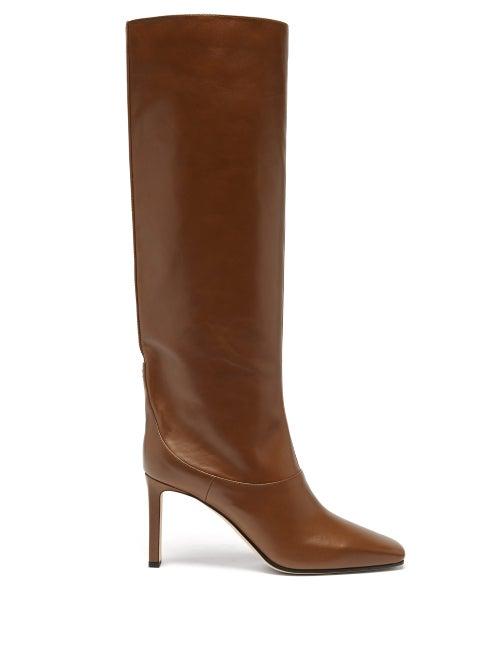 Jimmy Choo - Mahesa 85 Knee-high Leather Boots - Womens - Tan