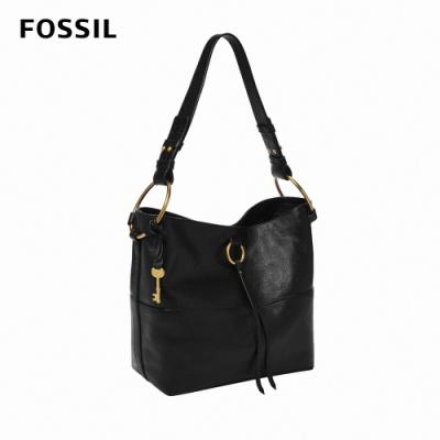 FOSSIL Ada 金屬環真皮肩背包-黑色 ZB1413001