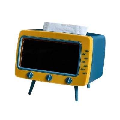 電視機 造型 面紙盒 北歐風 紙巾盒 多功能 造型手機架 面紙盒