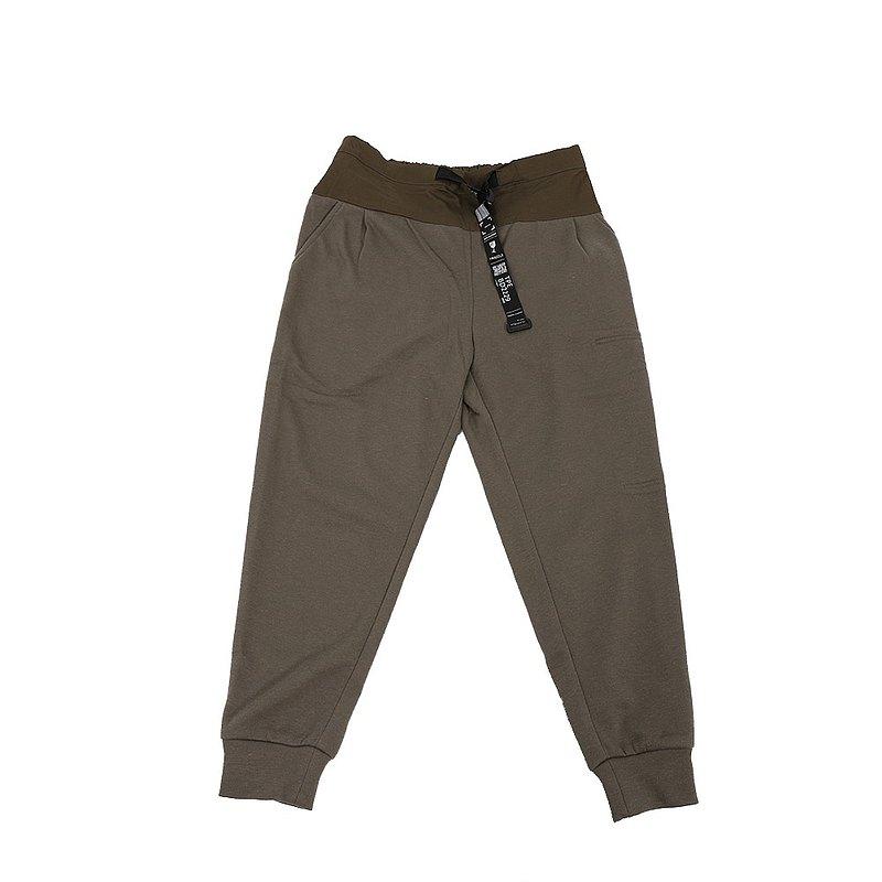 收放自如-鬆緊帶針織休閒褲 (墨綠)