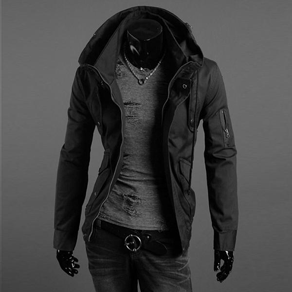 軍裝外套 男韓版修身軍綠色休閒騎士風衣 大碼秋冬薄款工裝加絨厚夾克 降價兩天