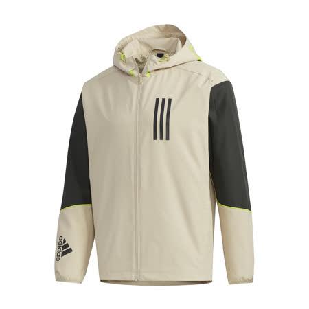adidas 外套 W.N.D. Jacket 連帽 男款 愛迪達 風衣外套 防風 穿搭 輕量 黃褐 黑 GF4014 GF4014